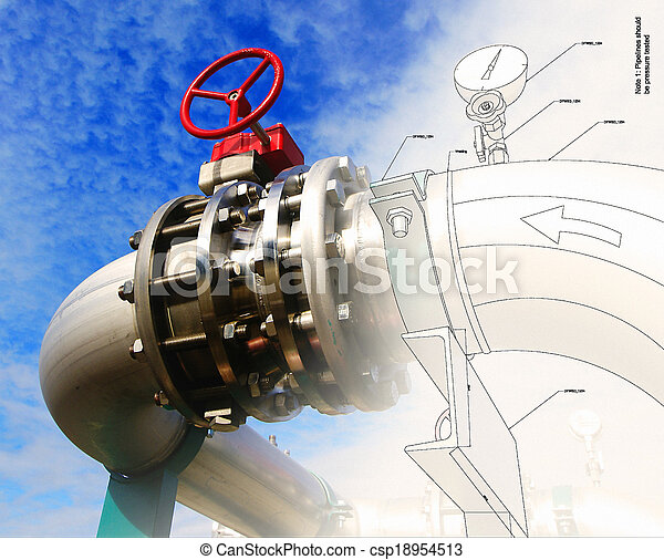 Industrial zone, Steel pipelines and valves against blue sky - csp18954513