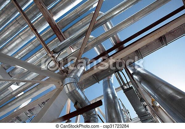 Industrial zone. Steel pipelines - csp31723284
