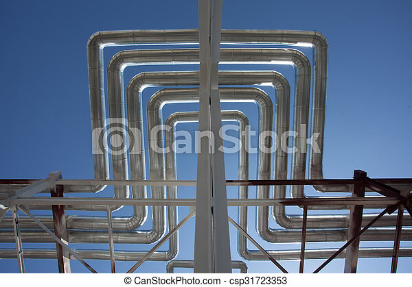Industrial zone. Steel pipelines - csp31723353