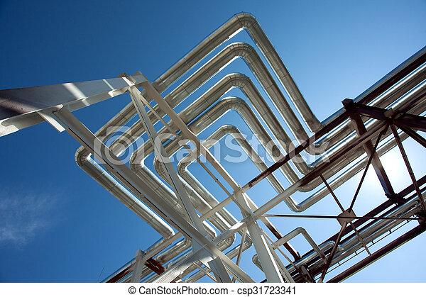 Industrial zone. Steel pipelines - csp31723341