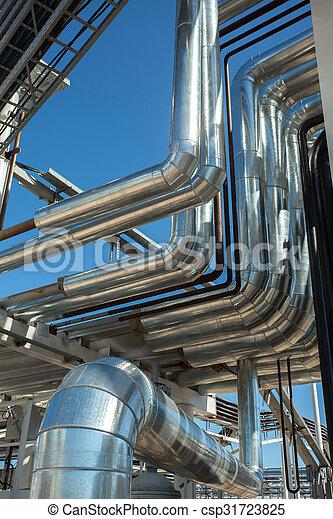 Industrial zone. Steel pipelines - csp31723825