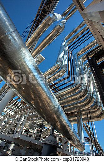 Industrial zone. Steel pipelines - csp31723940