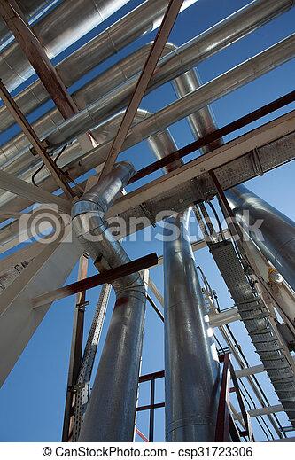 Industrial zone. Steel pipelines - csp31723306