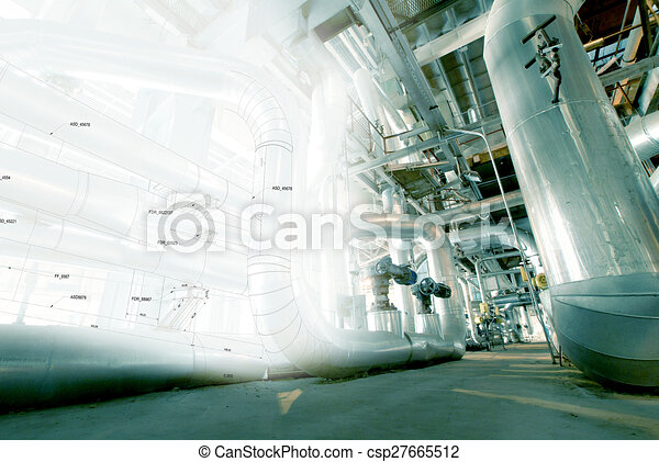 Industrial zone, Steel pipelines, valves and cables - csp27665512