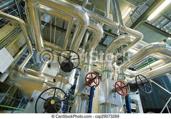 Industrial zone, Steel pipelines, valves and pumps - csp29073269