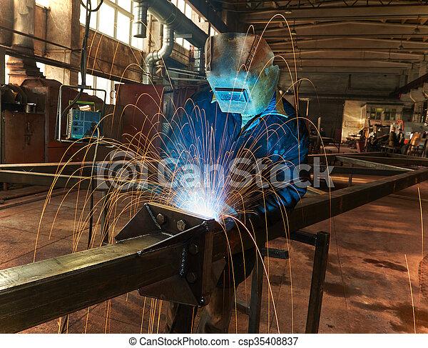 industriale, lavoro, arco, saldatura - csp35408837
