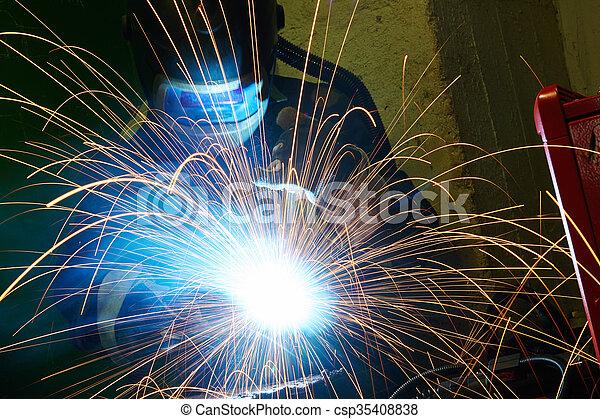 industriale, lavoro, arco, saldatura - csp35408838