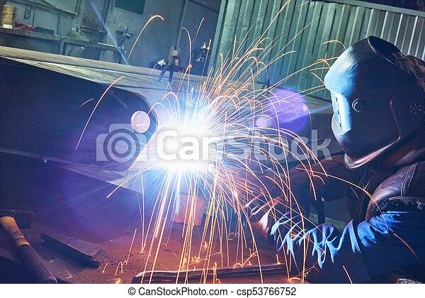 industriale, lavoro, arco, saldatura - csp53766752