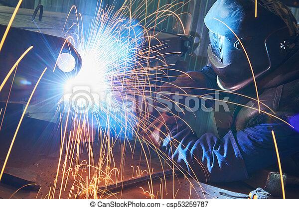 industriale, lavoro, arco, saldatura - csp53259787