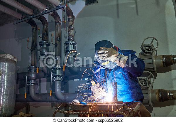 industriale, lavoro, lavoratore, saldatore arco, saldatura - csp66525902