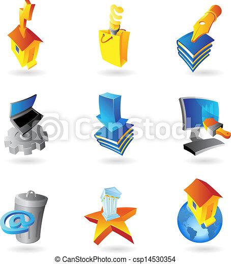 industrie, écologie, icônes - csp14530354