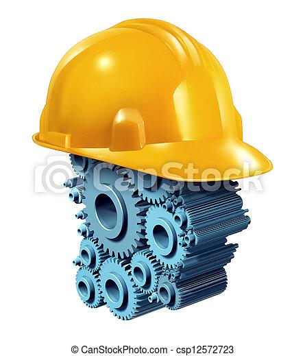industrie, bouwsector, werkende  - csp12572723