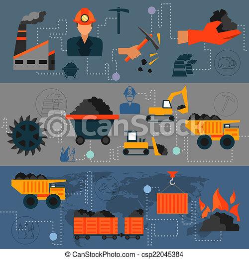 industrie charbon, ligne, bannières - csp22045384