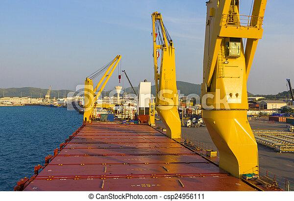 industrie, chargement, bateau, port - csp24956111
