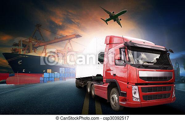 industrie, commercial, business, logistique, avion, transport camion, port, import-export, récipient, fret, cargaison - csp30392517