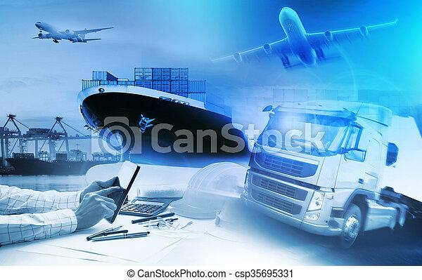 industrie, commercial, business, logistique, avion, transport camion, port, import-export, récipient, fret, cargaison - csp35695331