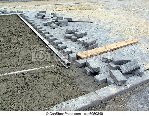 industrie, details, nieuw, baksteen, bouwsector, straat - csp6950340