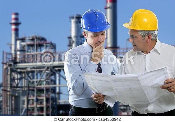 industrie, deux, architecte, équipe, compétence, ingénieur - csp4350942