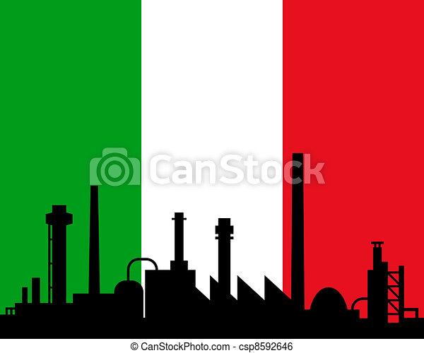 industrie, drapeau italie - csp8592646