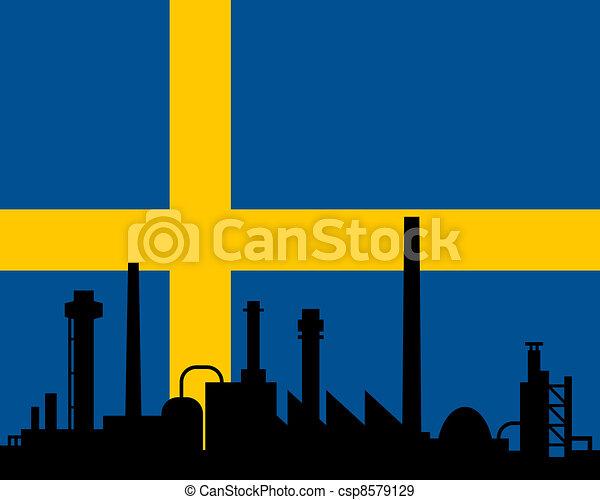 industrie, drapeau, suède - csp8579129