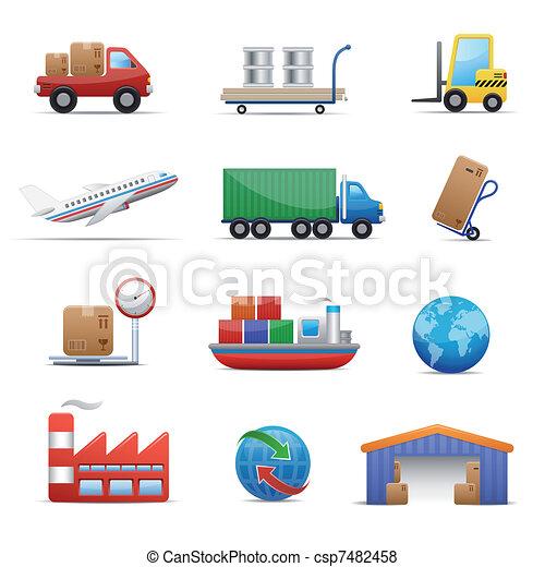 industrie, ensemble, logistique, icône, & - csp7482458