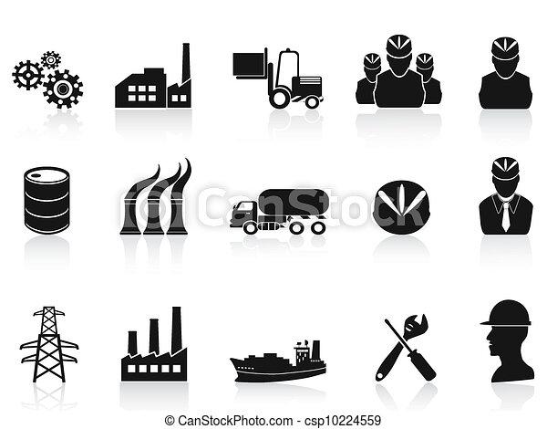 industrie, ensemble, noir, icônes - csp10224559