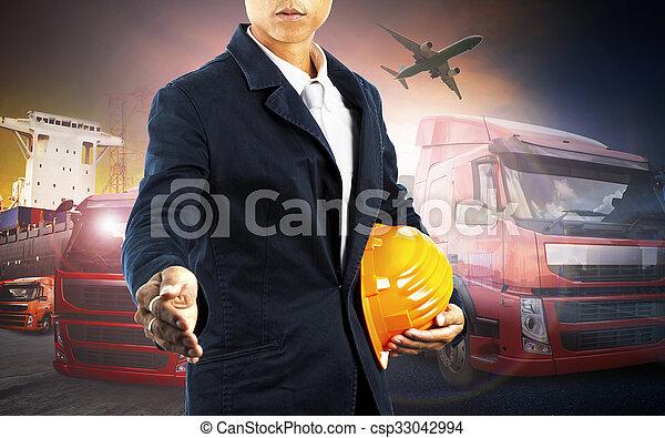 industrie, fonctionnement, business, commercial, logistique, avion, transport camion, port, import-export, homme, récipient, fret, cargaison - csp33042994