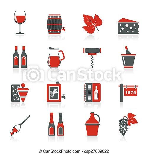 industrie, objets, vin, icônes - csp27609022
