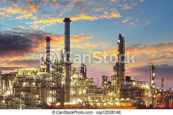 industrie, raffinerie, -, crépuscule, essence, huile - csp12538148