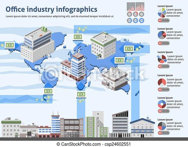 industriebereiche, buero, infographics - csp24602551