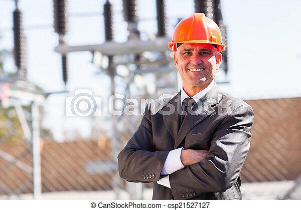 industriel, bras croisés, mâle aîné, ingénieur - csp21527127