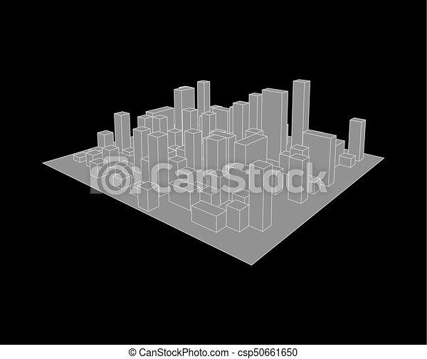 industriel, city., town., résumé, illustration, horizon, vecteur, paysage - csp50661650