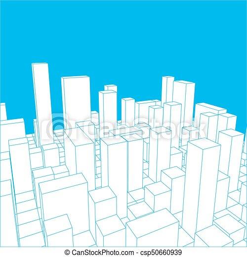 industriel, city., town., résumé, illustration, horizon, vecteur, paysage - csp50660939