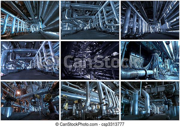industriel, collage, images, arrière-plans, fait, 9 - csp3313777