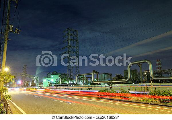 industriel, complexe, nuit - csp20168231