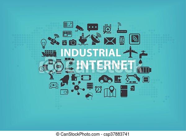 industriel, concept, internet, (iot) - csp37883741