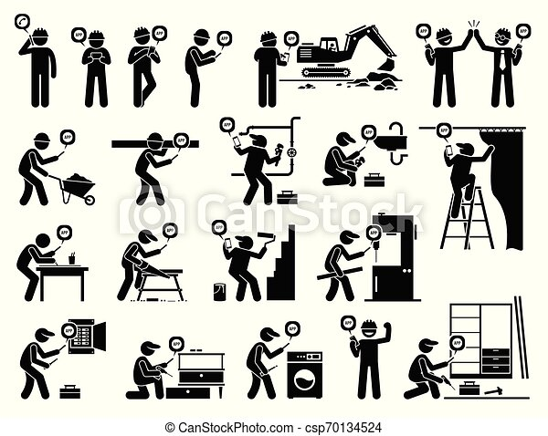 industriel, mobile, app, ouvrier, construction, utilisation, smartphone. - csp70134524