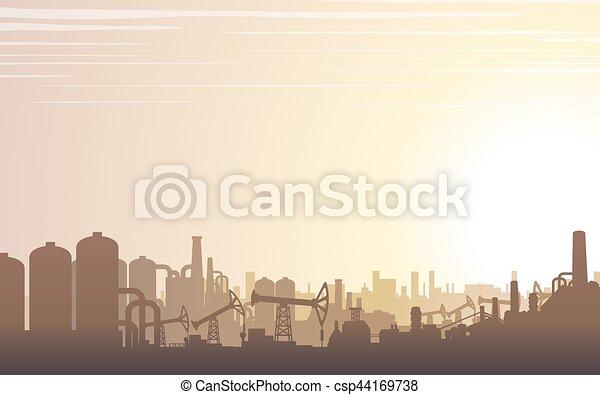industriel, paysage., horizon, vecteur - csp44169738
