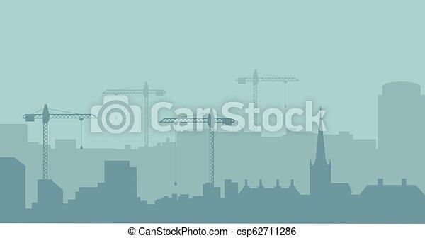 industriel, résumé, silhouette., panoramique, vecteur, illustratuion, skyline., construction, paysage - csp62711286