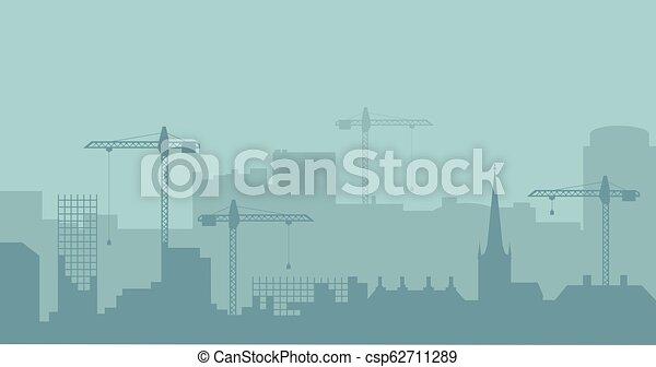 industriel, résumé, silhouette., panoramique, vecteur, illustratuion, skyline., construction, paysage - csp62711289