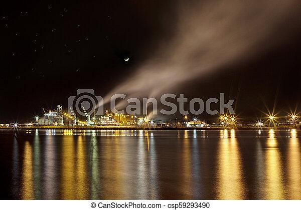 industriel, scène, nuit - csp59293490