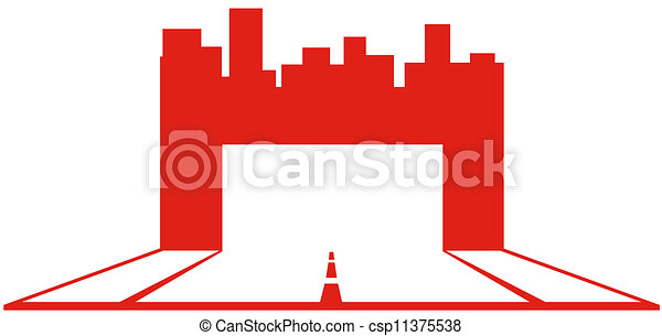 industriel, symbole, gratte-ciel - csp11375538