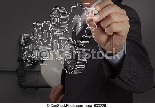 industriel, tuyauterie, engrenage, facilité, eau, concept, nettoyage, gaspillage, dessin, ingénieur - csp16332261