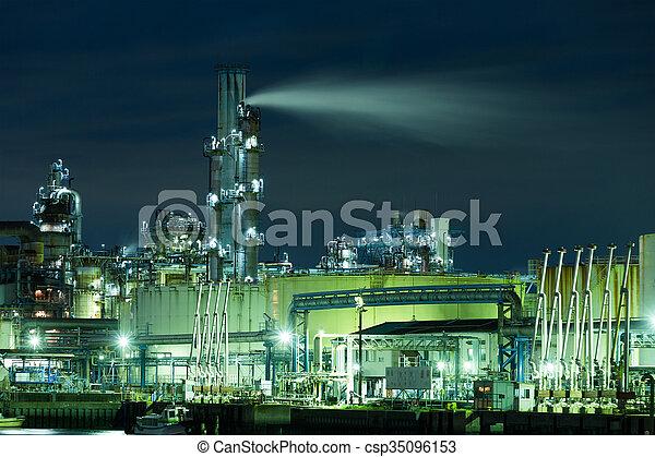 industriel, usine, nuit - csp35096153