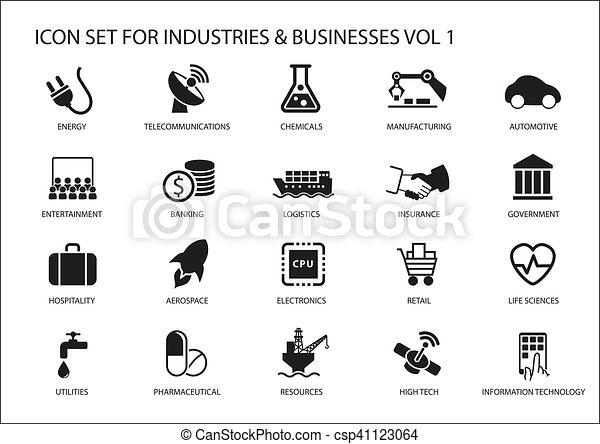 industries, haute vie, industrie, financier, secteurs, icones affaires, industrie, divertissement, sciences, symboles, divers, /, services, technologie, automobile, ressources, aimer - csp41123064