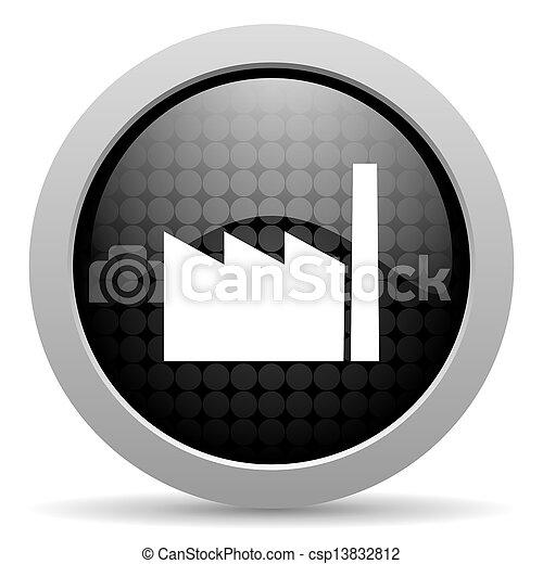 industry black circle web glossy icon - csp13832812