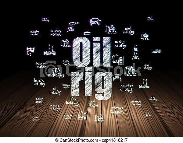 Industry concept: Oil Rig in grunge dark room - csp41818217