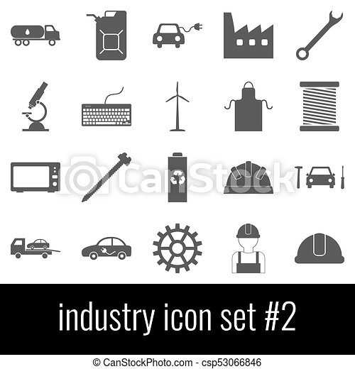 Industry. Icon set 2. Gray icons on white background. - csp53066846