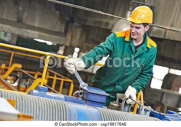 industry worker repairman with spanner - csp19817646