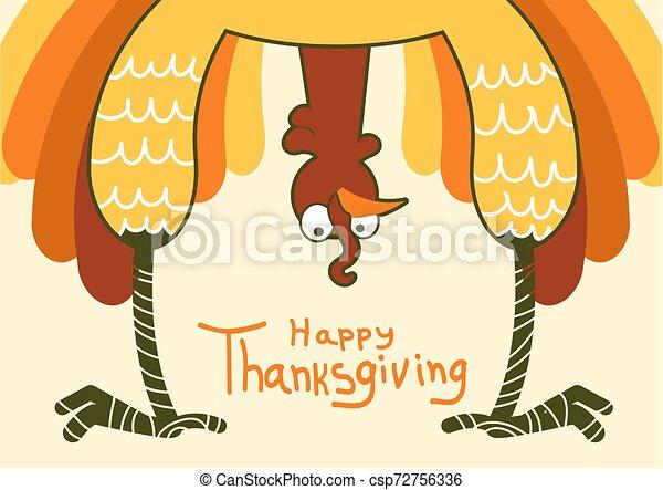 indyk, zabawny, kolor, symbol, dziękczynienie, ilustracja, day., wektor, szczęśliwy - csp72756336
